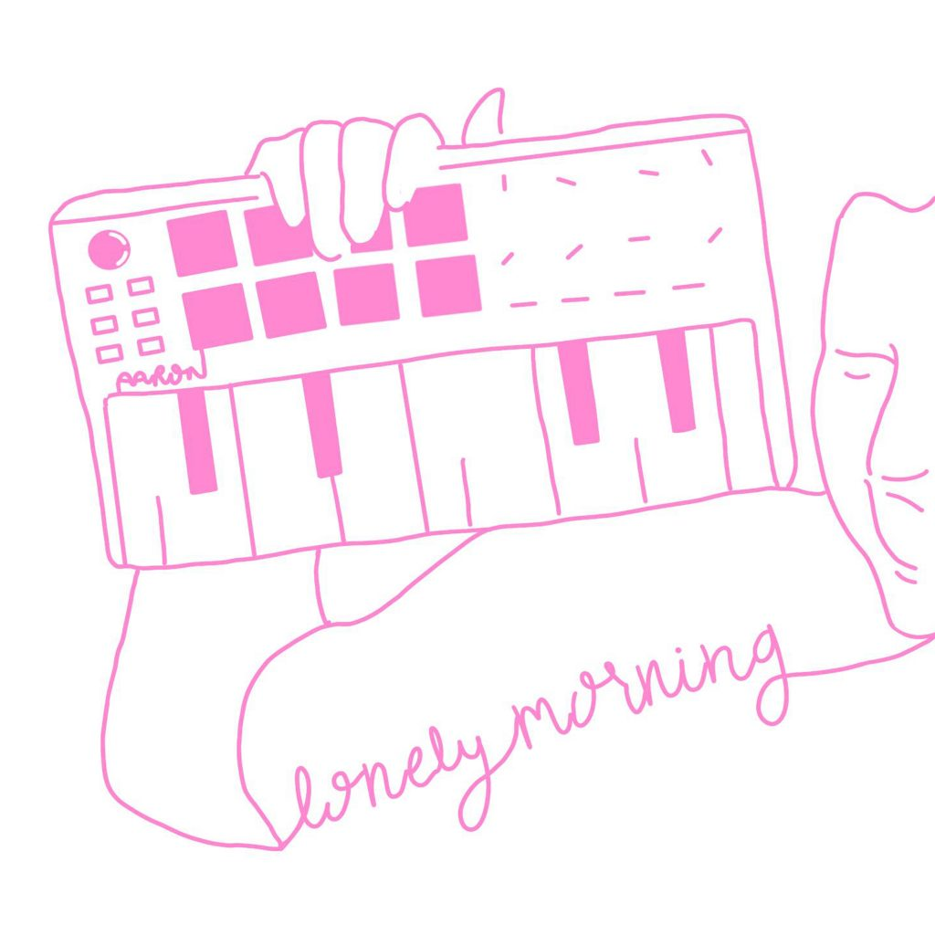 The cover art for the album Lonely Morning by lazyboyloops. The art features a pink outline silhouette drawing of lazyboyloops holding a midi keyboard.