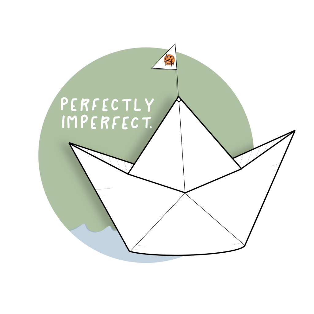Cover art for the single Perfectly Imperfect by lazyboyloops featuring an illustration of an origami paper boat in front of a green circle with a blue wave at the bottom.