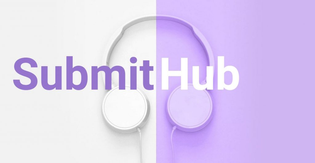 Submit Hub landing page image featuring headphones and the words Submit Hub in purple and white.