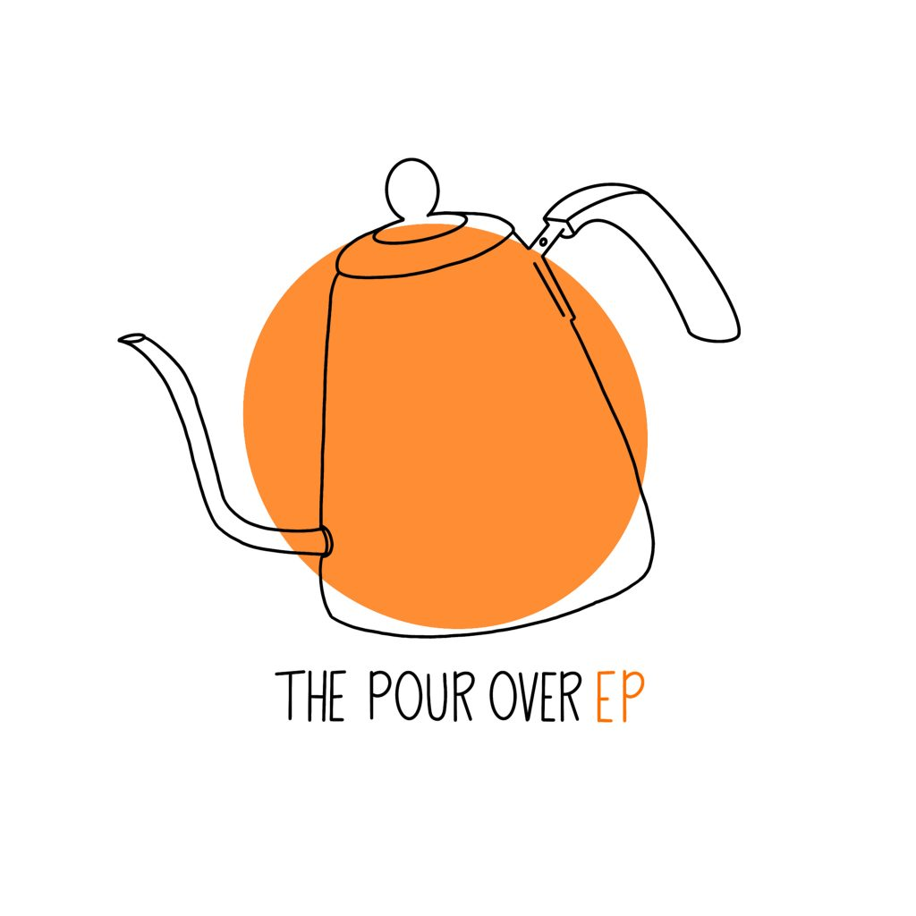 Cover art for The Pour Over EP by lazyboyloops. The art features an orange circle with an illustration of a swan neck kettle.