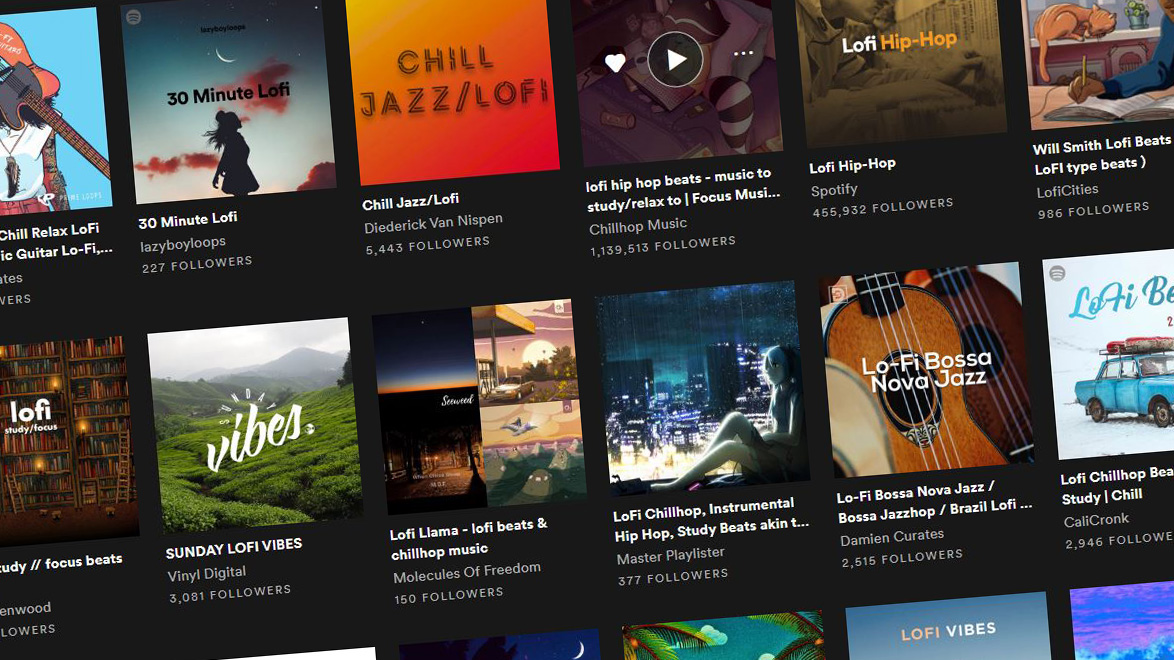 Screenshot showing a number of lifi hip-hop and chillhop spotify playlists